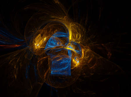 coming together: Computer generated fractal illustration of melding colors that look like fire and ice coming together