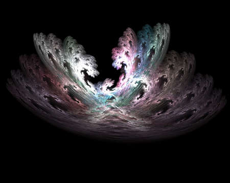 Computer generated fractal illustration of the wars between angels in Heaven on black