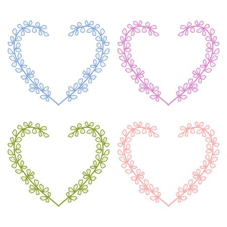 Beautiful hand drawn and colored floral heart elements, leaf and branch for frame, border, ornament, greeting card design, engagement, or wedding invitation