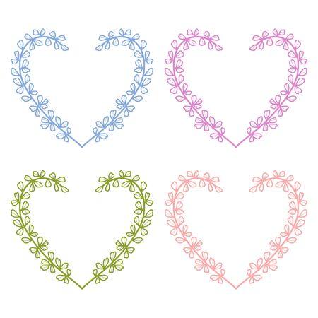 Hermosos elementos de corazón floral dibujados a mano y coloreados, hojas y ramas para marco, borde, adorno, diseño de tarjetas de felicitación, compromiso o invitación de boda