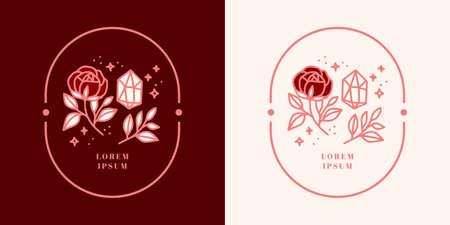 Hand drawn vintage crystal, gems, leaf, rose flower logo, and feminine beauty brand element