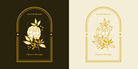 Hand drawn vintage botanical rose flower logo and feminine beauty brand element