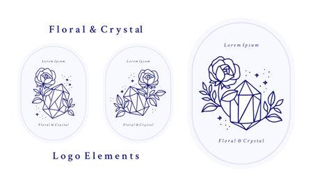 Hand drawn vintage blue botanical rose flower logo template, crystal, gem, and feminine beauty brand element collection Logo