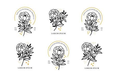 Set of hand drawn minimalistic rose flower, peony, and leaf logo elements for feminine brand or beauty product Logo