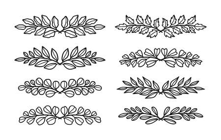 Set of hand drawn leaf wreath and laurel elements