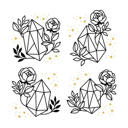 Collection of hand drawn magical elements with crystal, flower, stars, leaf branch Ilustração Vetorial
