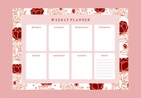 floral weekly planner and to do list template for aesthetic and beautiful printable schedule
