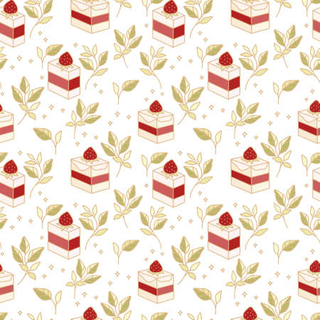 Hand drawn colorful cake, bakery, and pastry seamless pattern with strawberry and floral leaf elements in cute cartoon style and isolated white background for textile, fabric, paper, gift wrapping