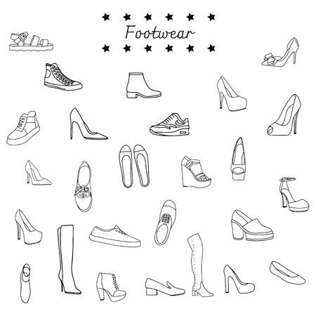 Vector illustration of a black and white set of shoes - boots, shoes, sneakers