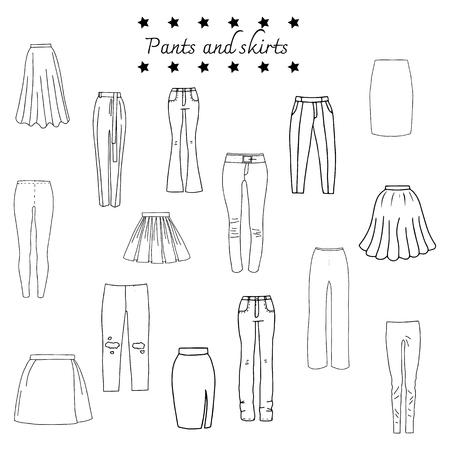 Vector illustration of black and white set clothes - skirts and pants Vector Illustration