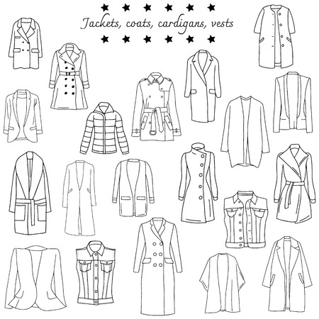 Vector illustration of black and white set of top warm clothes.