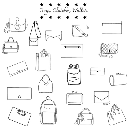 Vector illustration of black and white set bags - backpacks, clutches, wallets