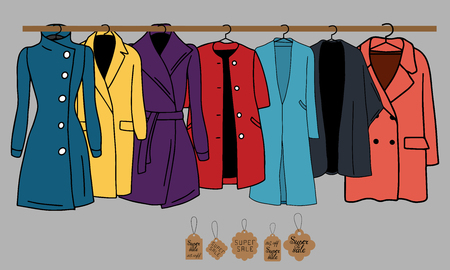 Vector illustration of warm outerwear that hangs on hangers. Also presented tags and an indication of sales.