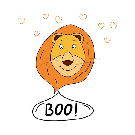 Vector illustration of funny cute animal print. This illustration presents the lion
