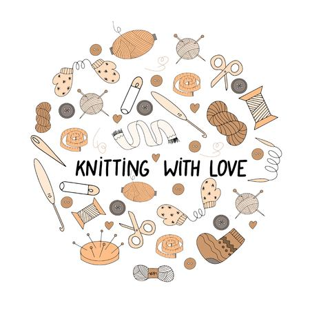 Vector illustration of a signboard for a shop of sewing or knitting with elements for handmade  イラスト・ベクター素材