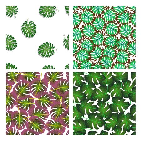 Vector illustration of a set of four patterns with palm leaves