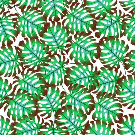 Vector illustration of a pattern of palm leaves