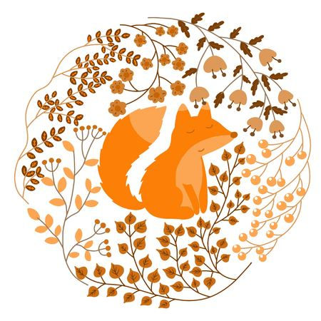 Vector illustration of floral card with fox. Flowers, leaves, buds, branches, shoots, berries.
