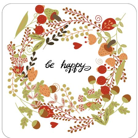 Flower illustration. Frame in the Scandinavian style of plants and flowers. Inside the circle is a congratulatory text