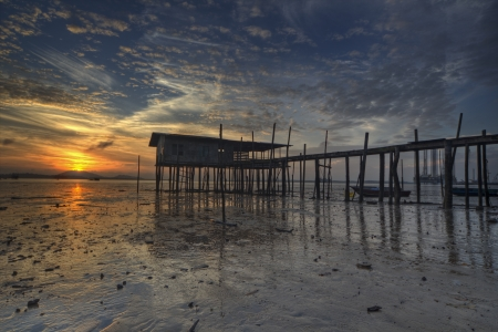 boathouse: boathouse during sunrise