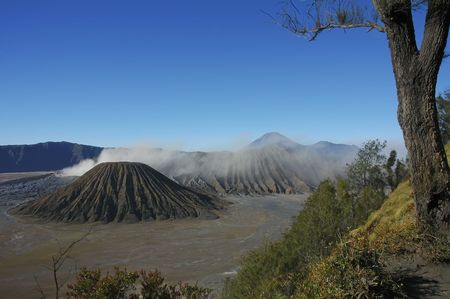 Blue sky on the bromo mount