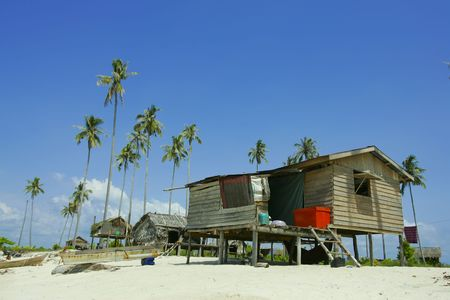 Native house and blue sky