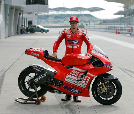 SEPANG, MALAYSIA - FEB. 26 : Ducati Marlboro Team rider Nicky Hayden of USA  stand with motorcycle before the 2010 pre-season test at Sepang circuit February 26, 2010 in Sepang, Malaysia.