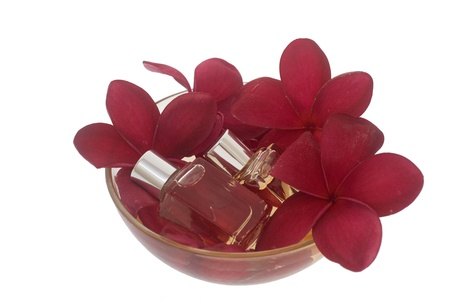 Spa concept - red plumeria and perfume bottles in bowl photo