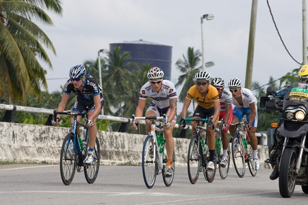 BANTING, SELANGOR - JANUARY 29 : The first group of five riders during Stage 7 Tour de Langkawi from Banting to Tampin on January 29, 2011 in Banting, Malaysia. Editorial