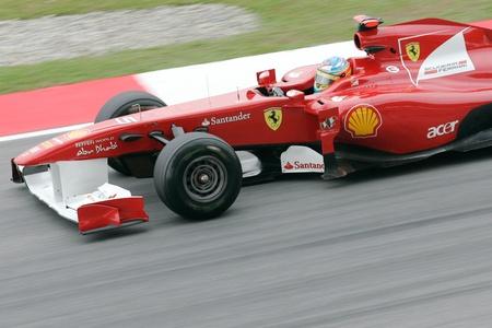 SEPANG, MALAYSIA - APRIL 8: Close-up of Fernando Alonso of Ferrari Team at PETRONAS Malaysia Grand Prix on April 8, 2011 in Sepang, Malaysia. The race will be held on Sunday April 10, 2011.
