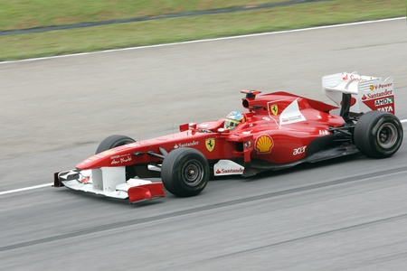 SEPANG, MALAYSIA - APRIL 8: Fernando Alonso of Ferrari Team accelerate at PETRONAS Malaysia Grand Prix on April 8, 2011 in Sepang, Malaysia. The race will be held on Sunday April 10, 2011. Editorial