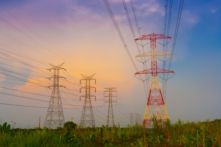 Electricity pylons at sunset Stock Photo - 9715771