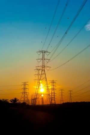 electric grid: Electricity pylons at sunset
