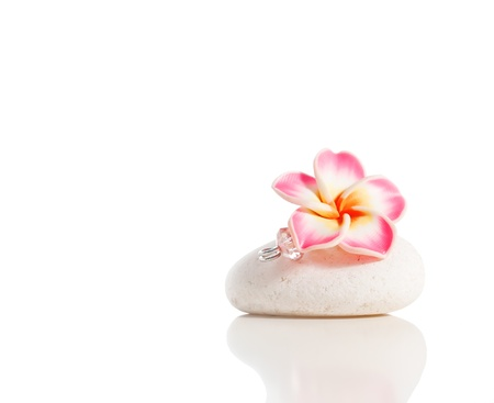Flower brooch on stone isolated on white photo