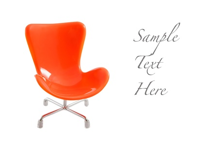 Orange chair with sample text photo
