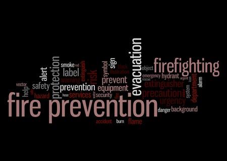 evacuatie: Brandpreventie info-tekst, afbeeldingen en arrangement concept op zwarte achtergrond