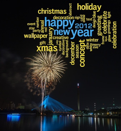 Happy New Year 2012 info-text clouds arrangement concept with fireworks as background photo