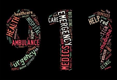 911 info-text graphics and arrangement concept on black background