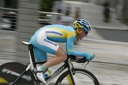 KUALA LUMPUR, MALAYSIA - FEB 15: Mikhail KOCHETKOV from Kazakshtan in Asian Cycling Championships 2012 during time trial event on February 15, 2012 in Putrajaya, Malaysia.