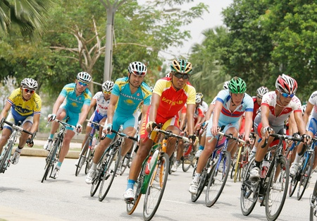 PUTRAJAYA, MALAYSIA - FEB 18: Cyclists from various teams in Elite Mens Road Race at the 32nd Asian & 19th Junior Asian Cycling Championships on Feb 18, 2012 in Putrajaya, Malaysia. Editorial