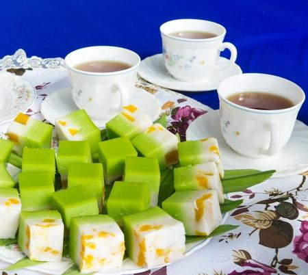 malay food:  traditional dessert and tea Stock Photo