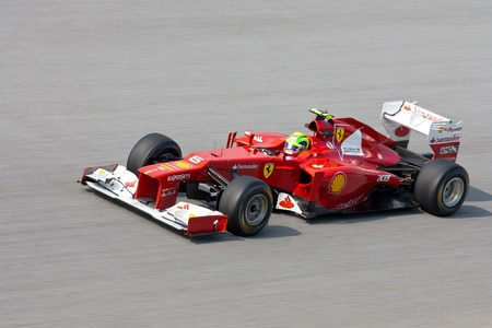 massa: SEPANG - March 23: Felipe Massa of Scuderia Ferrari Team at the backstraight during Friday practice at Petronas F1 GP on March 23, 2012 in Sepang, Malaysia. The race will be held on Sunday March 25, 2012. Editorial