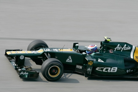 pirelli: SEPANG - March 23: Vitaly Petrov of Caterham F1 Team at the backstraight during Friday practice at Petronas F1 GP on March 23, 2012 in Sepang, Malaysia. The race will be held on Sunday March 25, 2012. Editorial