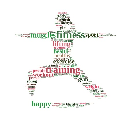 Fitness info-text graphics and arrangement concept on white background photo