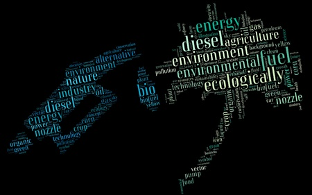 biodiesel: Bio-diesel info-text graphics and arrangement concept on palm tree and pump nozzle  word clouds