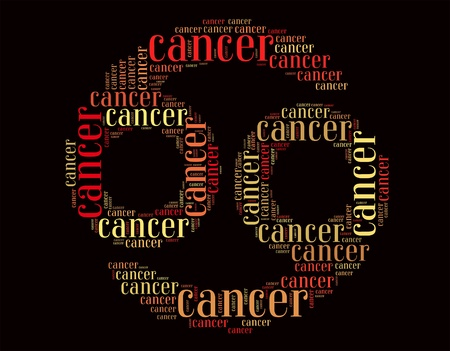 Cancer info-text graphics and arrangement concept on black back ground  word clouds