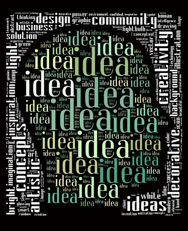Idea info-text graphics and arrangement concept on black background  word clouds  photo
