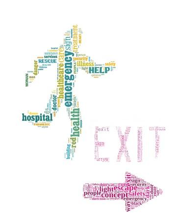 evacuacion: De salida de emergencia de signos gráficos de información de texto y el concepto de acuerdo en el fondo blanco Foto de archivo