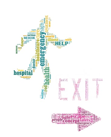 Emergency exit sign info-text graphics and arrangement concept on white background