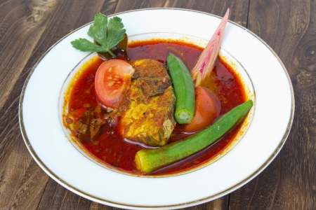 malay food: Fish dish - called Asam Pedas  It is the famous dish among Malaysian